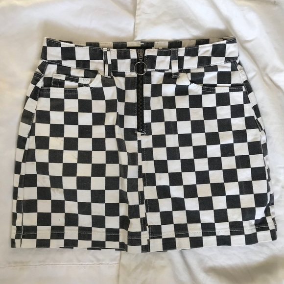 76afb7ebc Urban Outfitters Skirts | Uo Bdg Checkered Denim Zip Mini Skirt ...